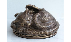Angel Cat Urn - Bronze Image